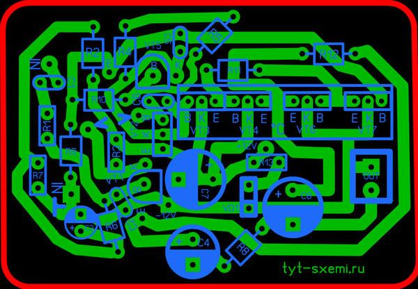Печатная плата для усилителя звука на транзисторах