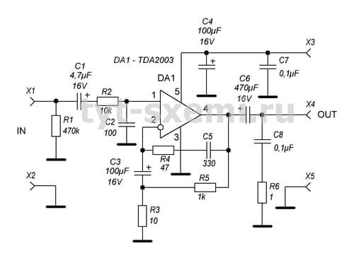 TDA2003 схема усилителя