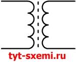 Обозначение классического трансформатора на схеме на схеме