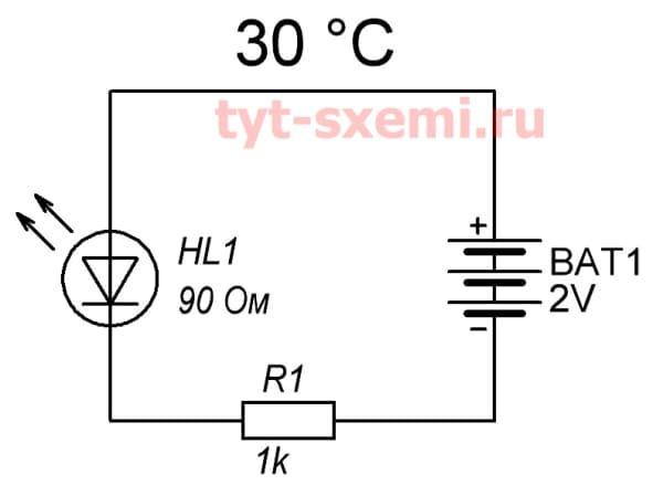 Резистор и светодиод